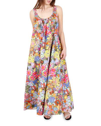 Ann Floral-Print Long Tank Dress