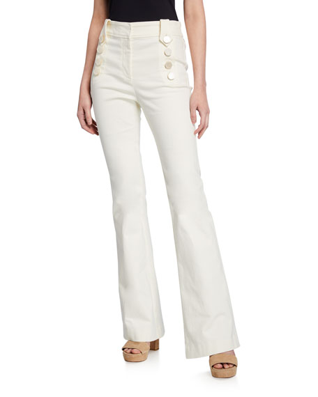 Image 1 of 1: Esben High-Rise Flare Pants with Sailor Buttons