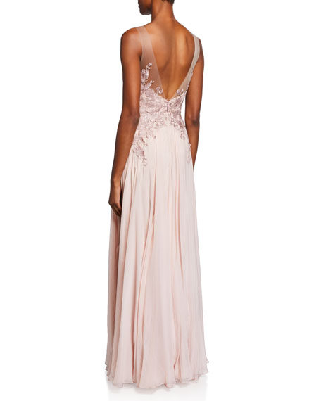 Misha Sweetheart Illusion Sleeveless Silk Chiffon Gown w/ Applique Bodice