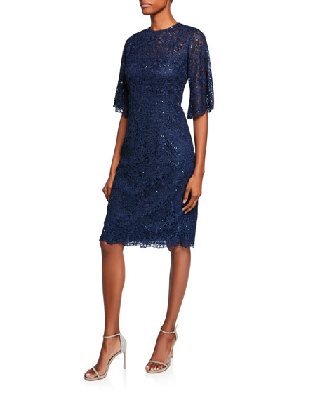 Jewel-Neck Elbow-Sleeve Floral Lace Cocktail Dress