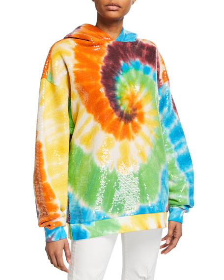 Sequined Tie-Dye Rainbow Hooded Sweatshirt