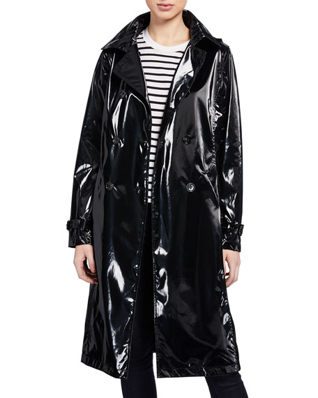 Jane Post Coats HOLOGRAM LONG TRENCH COAT W/ DETACHABLE HOOD