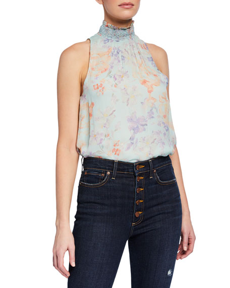 Annmarie Floral-Print Smocked Turtleneck Tank Top