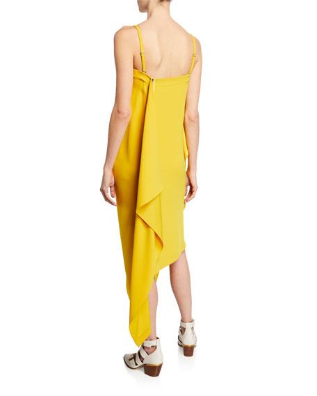 Draped Drawstring Midi Dress w/ Removable Straps