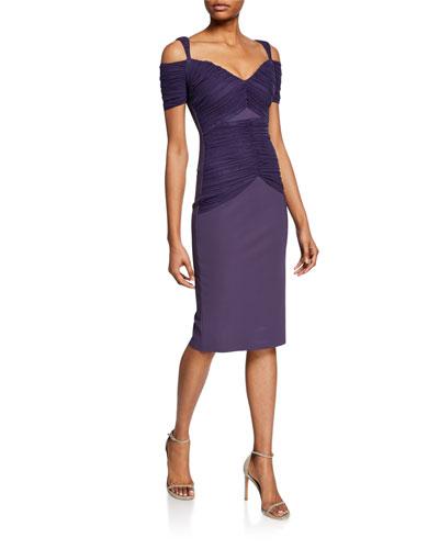 Bertuccia Ruched Sweetheart Cold-Shoulder Dress