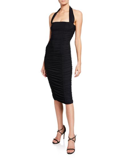 Ruched Bodycon Halter Dress