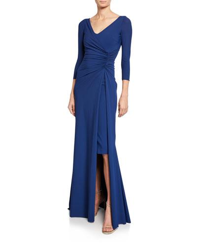 Piene V-Neck 3/4-Sleeve Gathered Overlay Gown