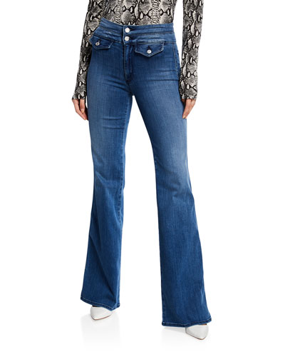 Amelia Wide-Leg Jeans with Double Waistband