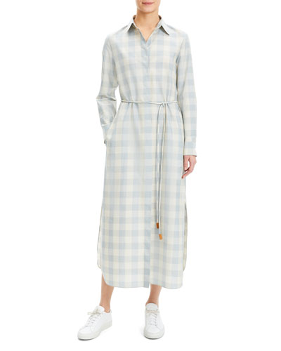 Plaid Waist-Tie Button-Down Ankle Shirtdress