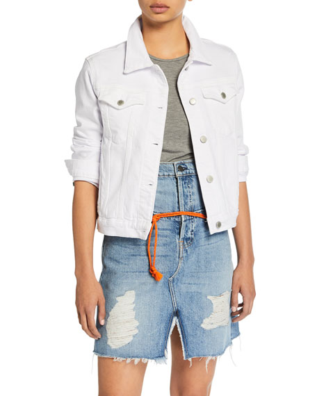Image 1 of 1: Ruby Contour Button-Front Stretch-Denim Jacket