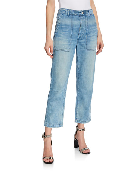 AMO Denim Army High-Rise Straight-Leg Cropped Jeans