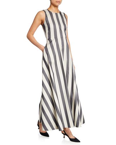 Striped Sleeveless Cotton-Silk Maxi Dress