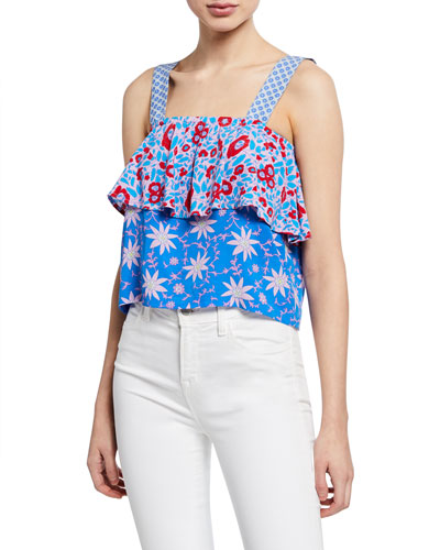 Boat Printed Square-Neck Blouse