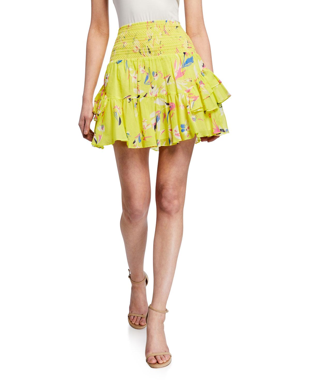 Tanya Taylor Shorts Bryn Short Smocked Ruffle Skirt