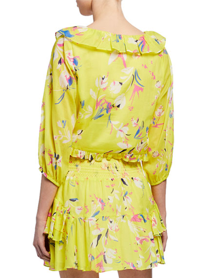 Lourdes Floral-Print V-Neck Half-Sleeve Ruffle Top