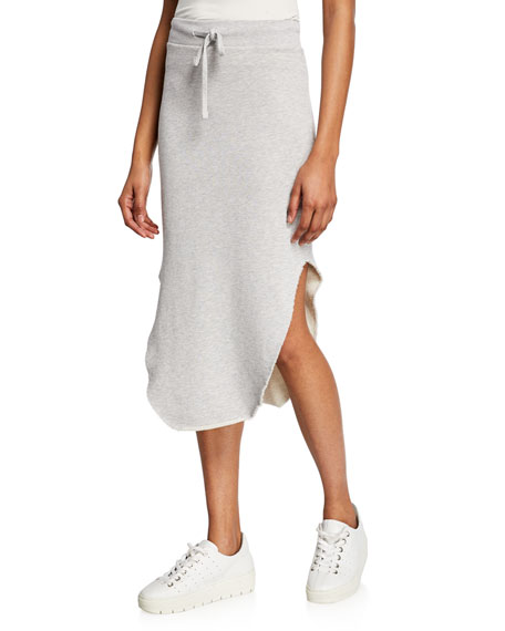 Drawstring Raw-Edge Long Fleece Skirt