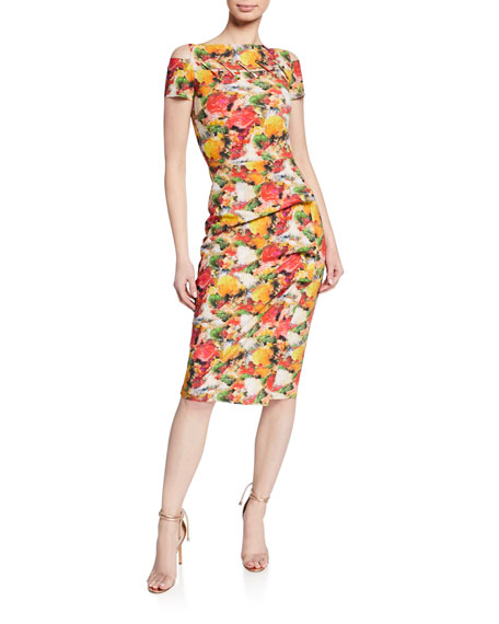 Floral-Print Short-Sleeve Dress w/ Grommet Details & Asymmetric Shirred Skirt