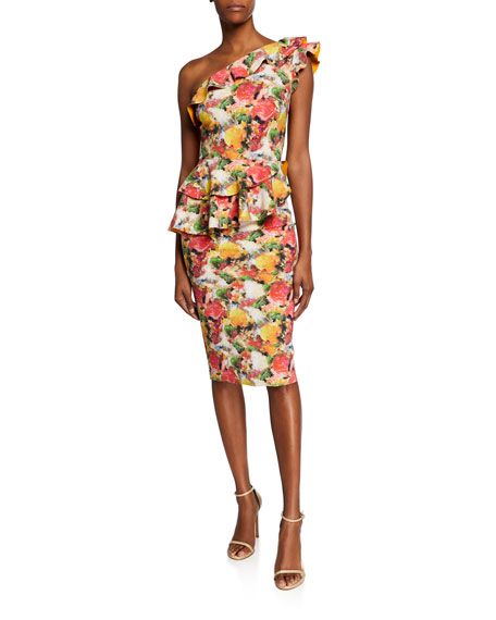 Image 1 of 1: Printed Ruffled One-Shoulder Asymmetric Peplum Dress