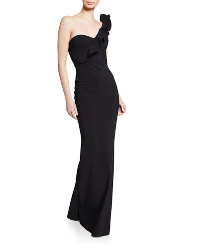 Adrina One-Shoulder Asymmetric Shoulder-Ruffle Column Gown