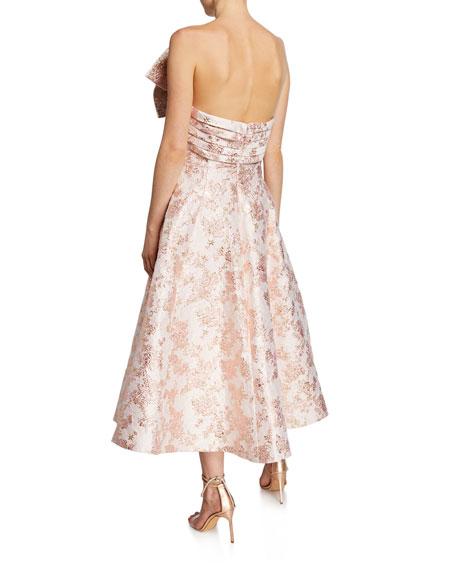 Ballerina Bow Strapless Jacquard Cocktail Dress