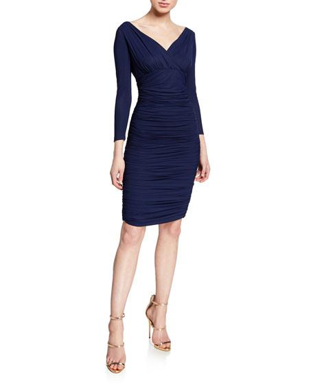 V-Neck 3/4-Sleeve Ruched Cocktail Dress