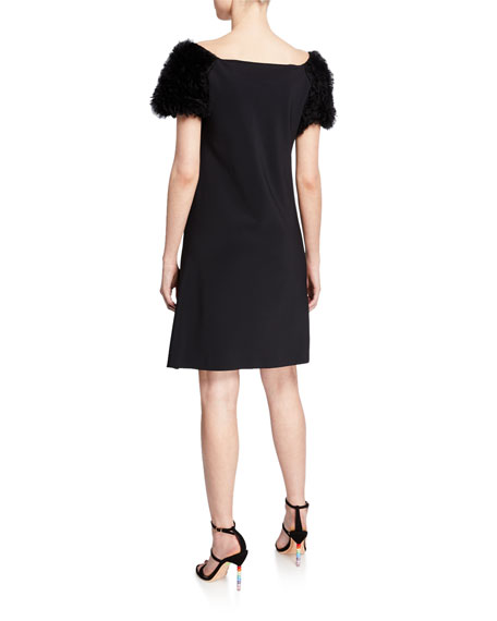 Boat-Neck Ruffle-Sleeve Short Dress