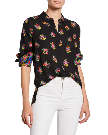 Image 1 of 1: Bailey Floral Button-Down Silk Blouse