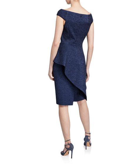 Metallic Jacquard Off-Shoulder Cap-Sleeve Asymmetric Peplum Dress