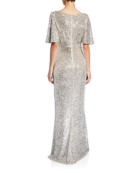 Sequin V-Neck Flutter-Sleeve Column Gown
