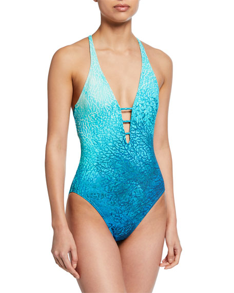 Carmen Marc Valvo Suits PRINTED V-NECK ONE-PIECE SWIMSUIT