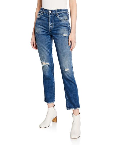 AMO Denim Babe Distressed Straight-Leg Cropped Jeans