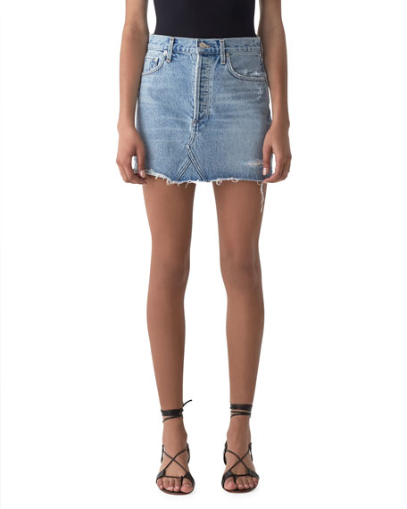 Image 1 of 1: Quinn High-Rise Denim Mini Skirt