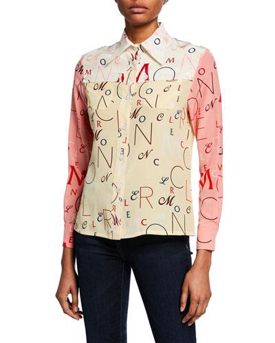 Long-Sleeve Printed Silk Shirt Quick Look 0b9fc012efa3