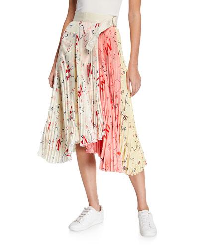 Moncler Genius Silk Accordion Midi Skirt w/ Belt