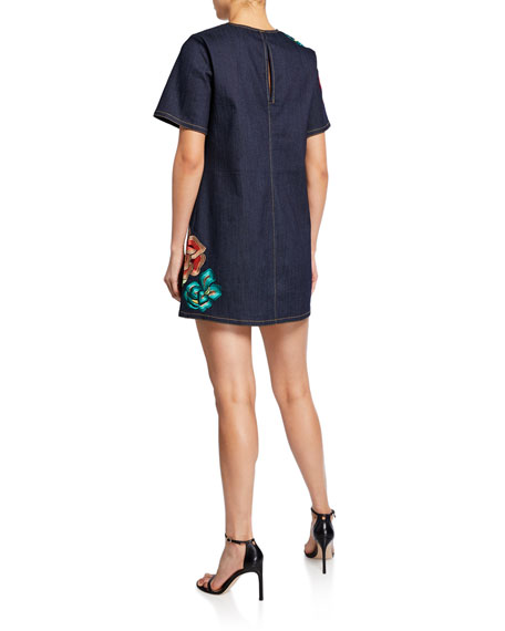 Ashton Floral Embroidered Shift Denim Dress