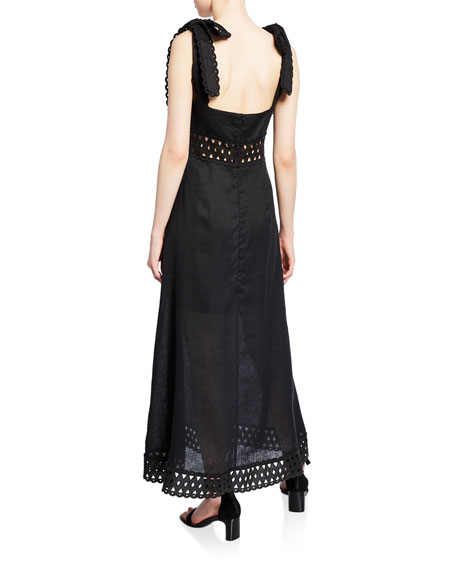 Verity Laser-Cut Picnic Tie-Strap Dress