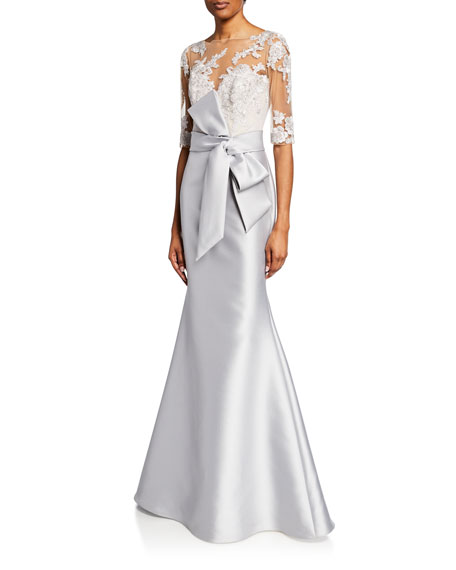 Sweetheart Illusion Half-Sleeve Lace-Bodice Mermaid Gown w/ Bow Detail