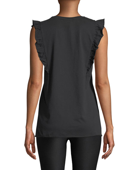 Scoop-Neck Graphic Frill Muscle Tank