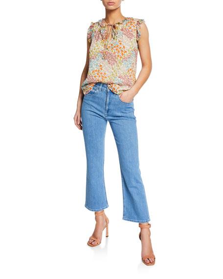 High-Rise Capri Boot-Cut Jeans