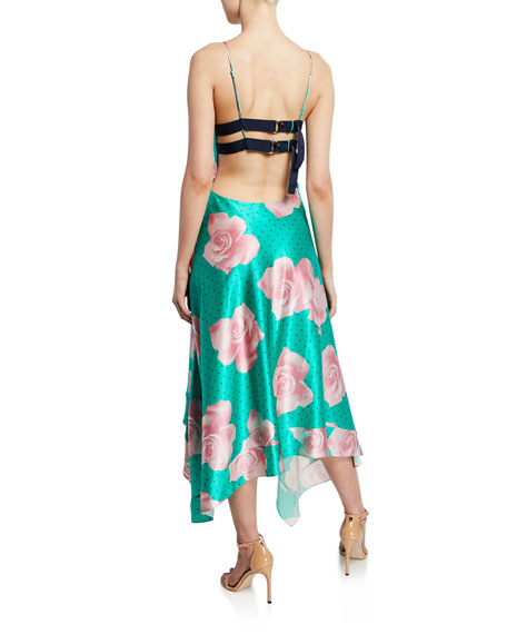 Floral-Print Handkerchief Dress