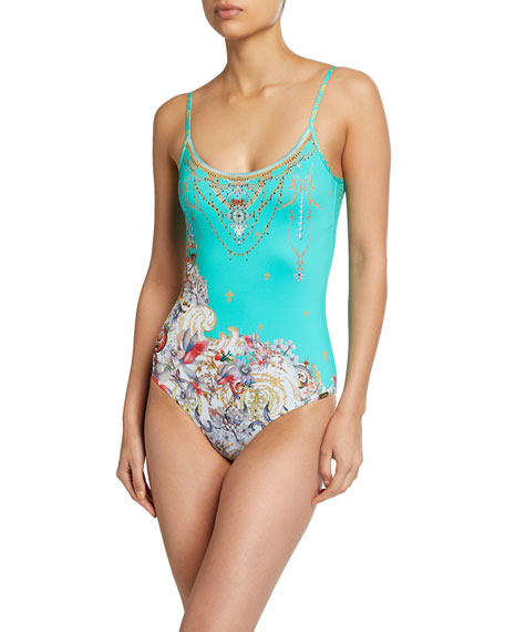 Printed Scoop-Neck One-Piece Swimsuit
