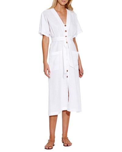 Tassel-Tie Button Front Midi Dress