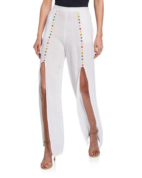 All Things Mochi Pants GAHO EMBROIDERED SPLIT-LEG PANTS