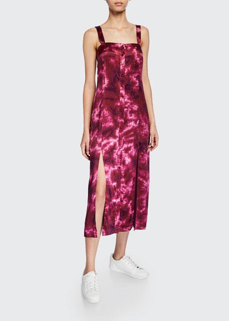 Alexa tie-dye button-front sleeveless dress