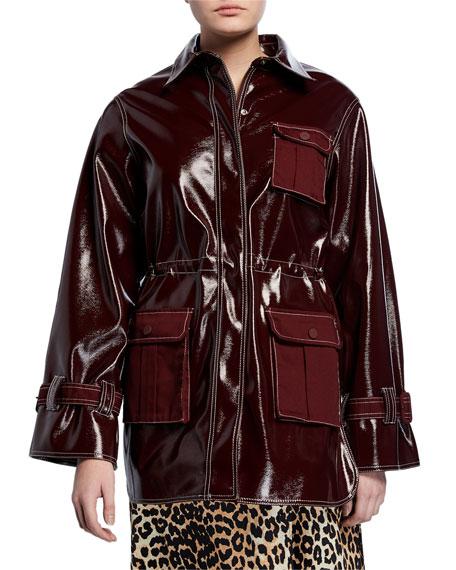 Shiny Patent Snap-Front Jacket