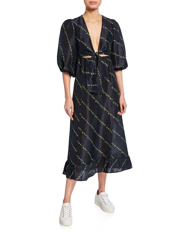 sale online best wholesaler factory outlets Ditsy Floral Silk-Linen Tie-Front Dress