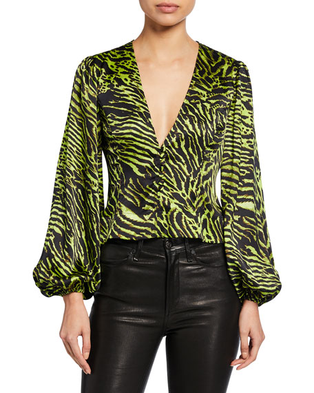 Tiger-Print V-Neck Blouson-Sleeve Satin Crop Top