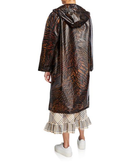 Tiger-Print Hooded Long Raincoat