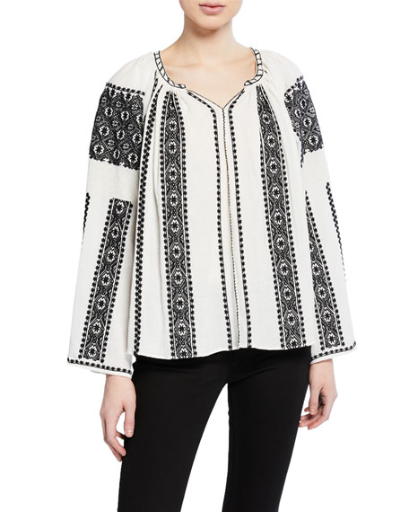 The Journey Embroidered Long-Sleeve Top