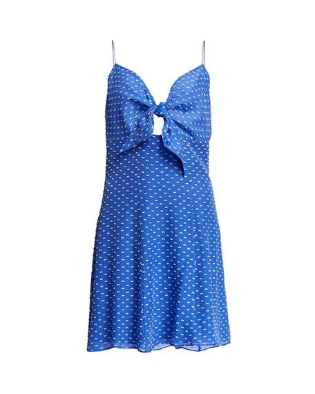 Roe Tie-Front Sleeveless Mini Dress